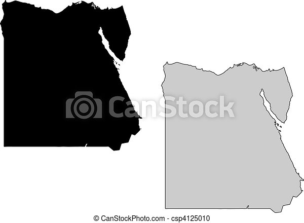 Vector Clipart Of Egypt Map Black And White Mercator Projection - Map of egypt vector