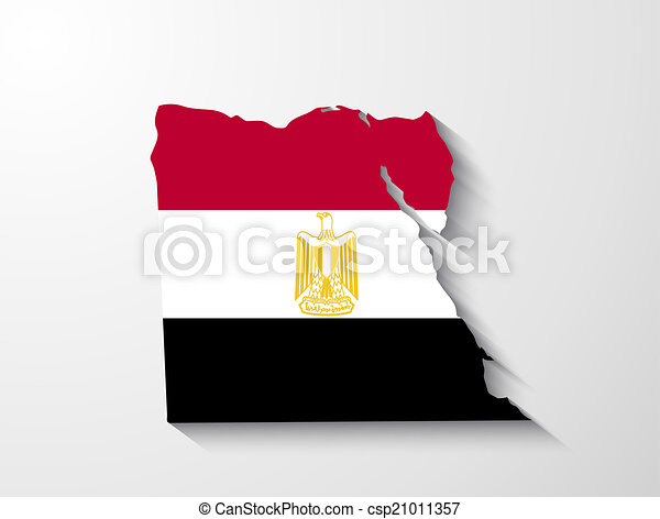 Egypt map with shadow effect presentation - csp21011357