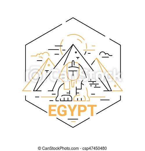 Egypt Modern Vector Line Travel Illustration