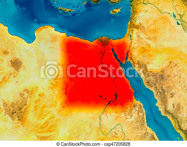 Egypt On Physical Map Egypt Highlighted In Red On Physical - Egypt physical map