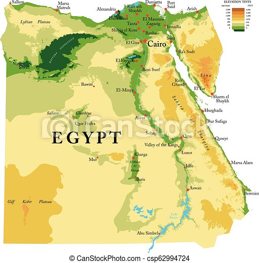 Egypt Physical Map Highly Detailed Physical Map Of The Egypt In