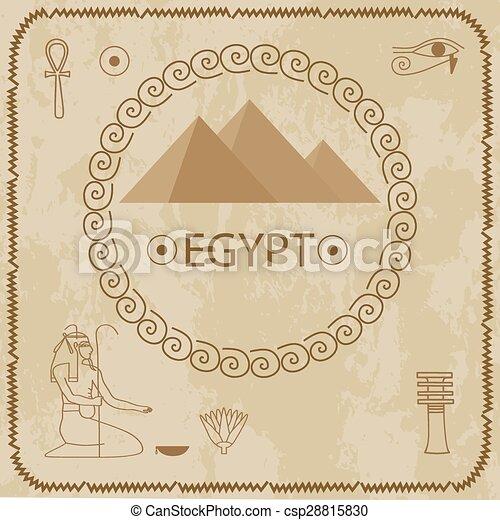 Egypt, pyramids, hieroglyphs  - csp28815830