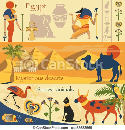 Egypt Set Egyptian Ancient Symbols Mysterious Desserts Sacred