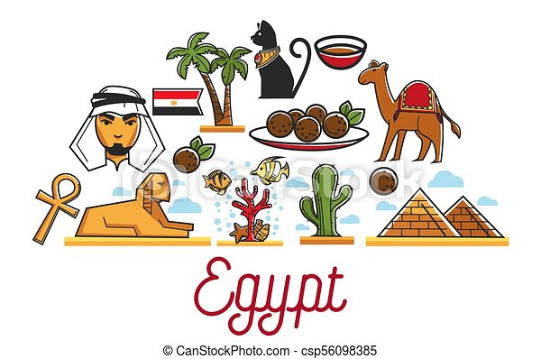 Egypt Traditional National Symbols And Famous Architecture Set
