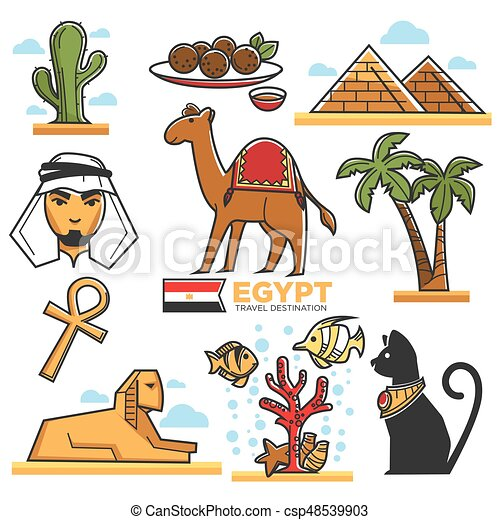 Egypt Traditional Symbols Map For Travellers Vector Poster In Flat