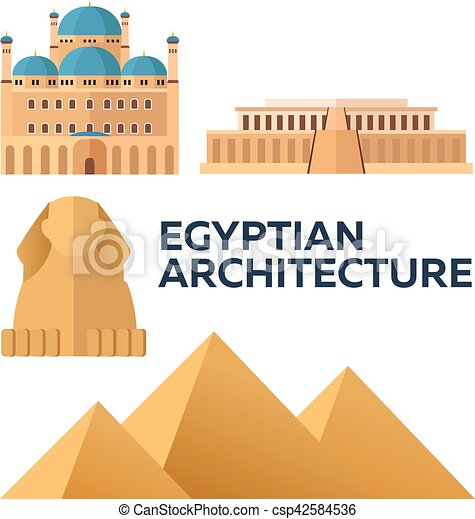 Egyptian Architecture. Modern flat design. Vector illustration. - csp42584536