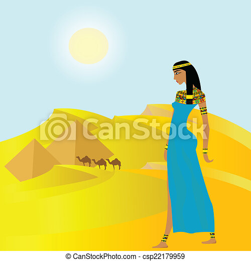 Egyptian background with ancient woman and pyramids - csp22179959