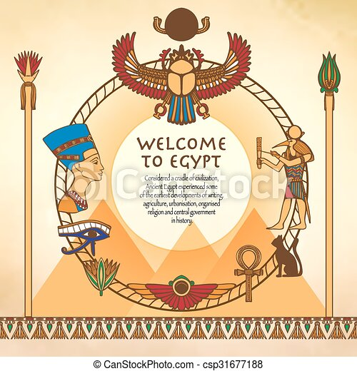 Egyptian Background With Frame - csp31677188