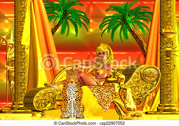 Egyptian goddess lying down. - csp22907052
