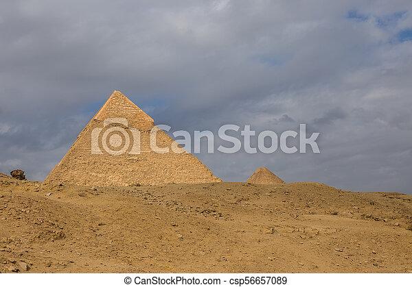 Egyptian pyramids in of Giza, Egypt - csp56657089