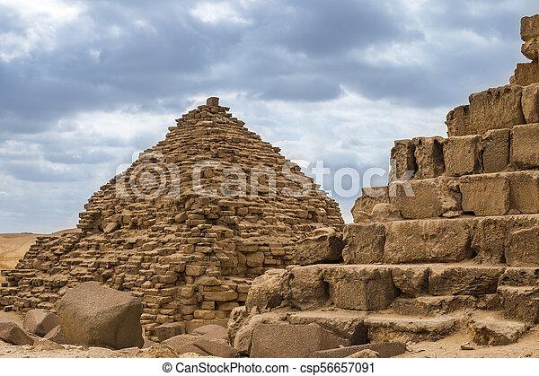 Egyptian pyramids in of Giza, Egypt - csp56657091