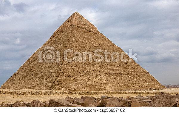 Egyptian pyramids in of Giza, Egypt - csp56657102