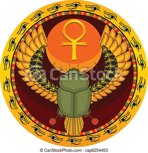 The Egyptian Sacred Bug A Scarab A Symbol Of The Sun In A Vector