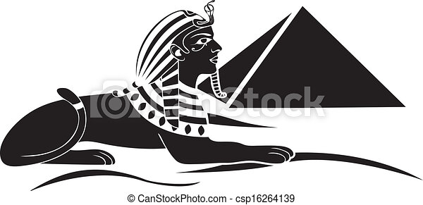 egyptian sphinx with pyramid black  - csp16264139