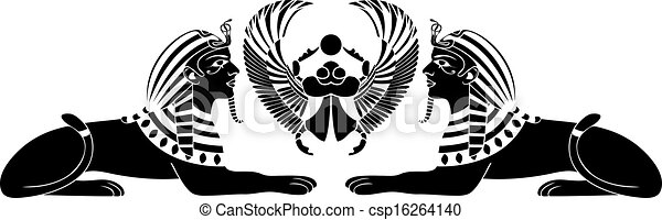 egyptian sphinx with scarab black  - csp16264140
