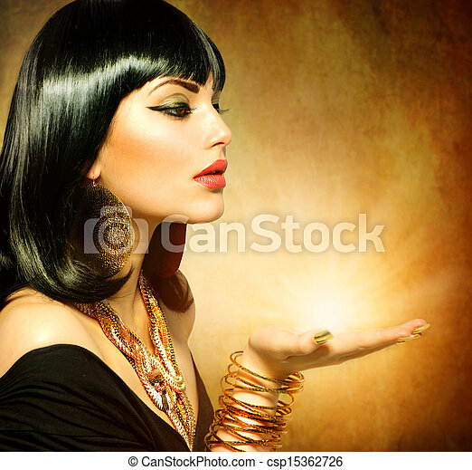 Egyptian Style Woman with Magic Light in Her Hand - csp15362726