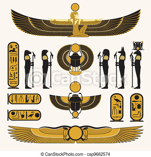 Egyptian symbols and decorations - csp9662574