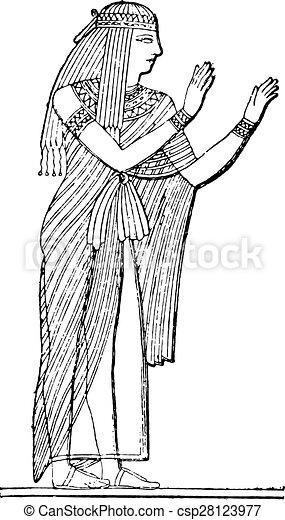 Egyptian woman, vintage engraving. - csp28123977