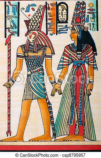 egyptisch, concept, papyrus, geschiedenis - csp8795957