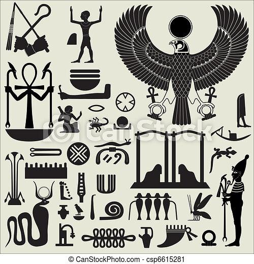egyptisch, symbolen, 2, set, tekens & borden - csp6615281