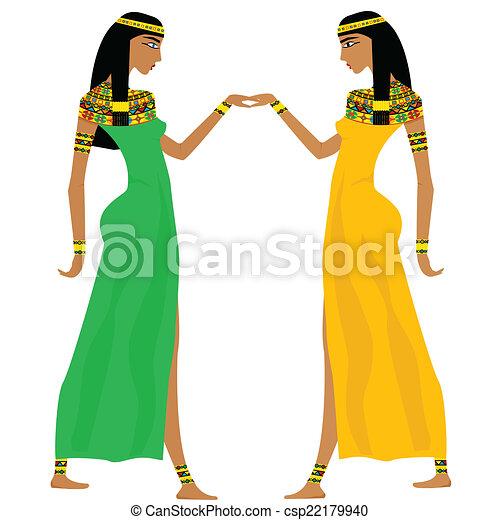 egyptisk, forntida, dansande, kvinnor - csp22179940