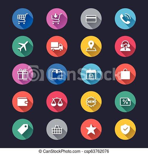 egyszerű, e-commerce, szín, ikonok - csp63762076