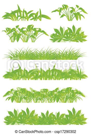 egzotikus, részletes, fogalom, ábra, tropikus, detektívek, körvonal, vektor, zöld, dzsungel, háttér, gyűjtés, fű, táj - csp17290302