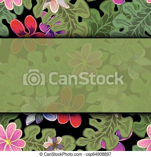 egzotyczny, lato, frame., afisz, karta, leaves., plakat, tropikalny, dłoń, tapeta, tło - csp64908897