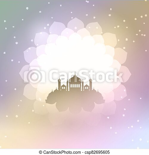 Eid Al Adha background with mosque silhouette 2306 - csp82695605