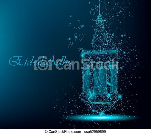 Eid Al Adha Beautiful Greeting Card With Traditional Arabic Lantern    Csp52959699