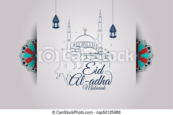 Vector illustration of eid al adha greeting card with goat head and eid al adha greeting card with goat head and mosque csp50125986 m4hsunfo
