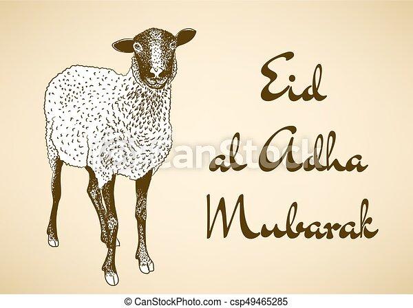 Eid al adha mubarak greeting card with hand drawn sheep eid al adha mubarak csp49465285 m4hsunfo
