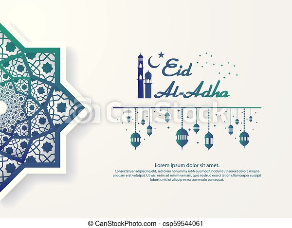 Eid Al Adha Mubarak Greeting Design Abstract Mandala With Pattern Ornament And Lantern Element Islamic Invitation Banner Or Card Background Vector