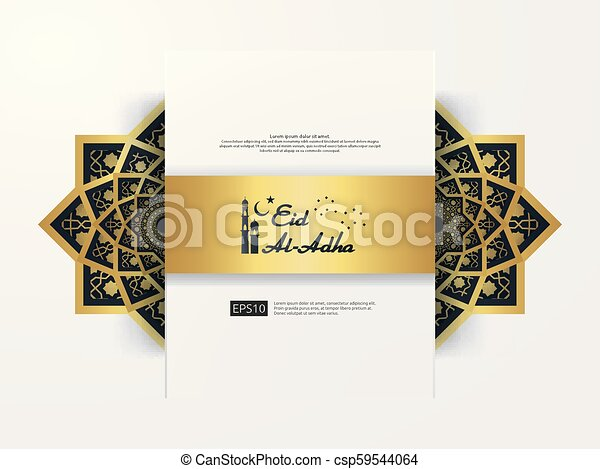Eid Al Adha Mubarak Greeting Design Abstract Gold Color Mandala With Pattern Ornament Element Islamic Invitation Banner Or Card Background Vector