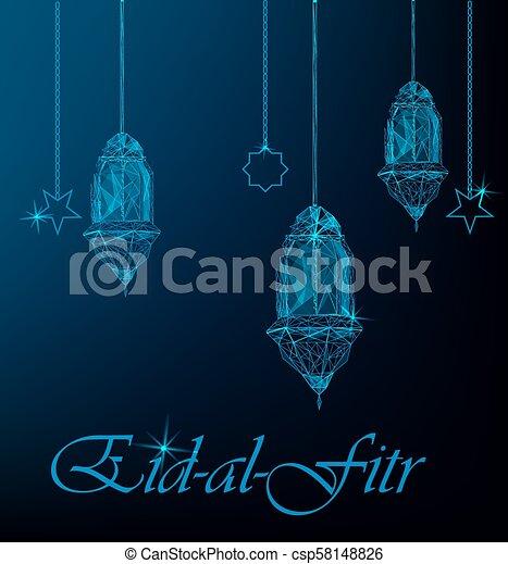 Eid al fitr greeting card with hanging traditional arabic lanterns eid al fitr greeting card csp58148826 m4hsunfo
