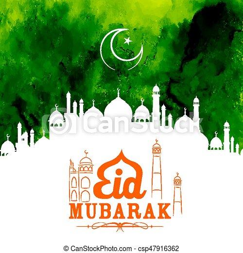 Eid mubarak feliz eid saludos con la mezquita - csp47916362