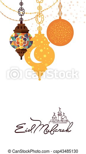 Eid mubarak arabic muslim card design eid mubarak greeting card eid mubarak arabic muslim card design csp43485130 m4hsunfo