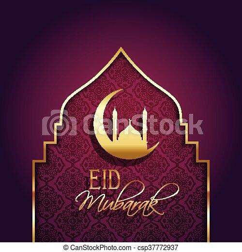 Eid mubarak background with decorative type - csp37772937