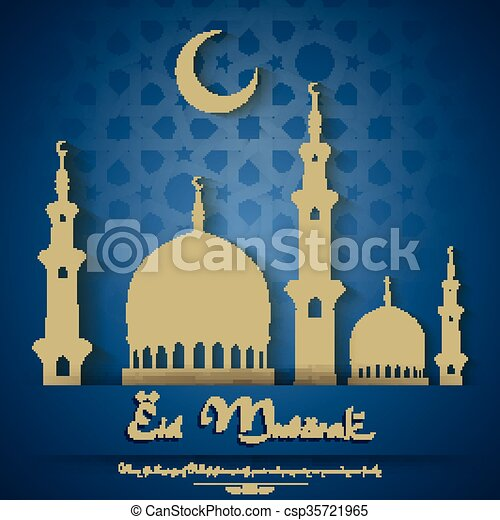 Eid mubarak background with mosque - csp35721965