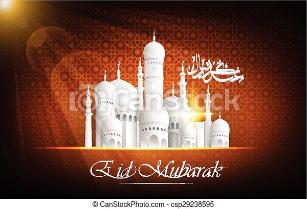 Eid Mubarak background with mosque - csp29238595