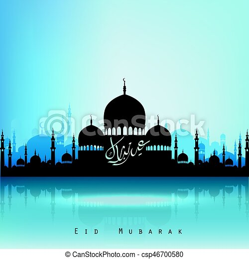 Eid Mubarak background with mosque - csp46700580