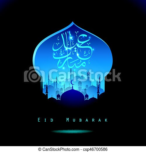Eid Mubarak background with mosque silhouettes - csp46700586
