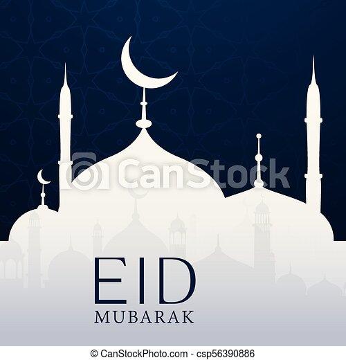 eid mubarak background with mosque - csp56390886
