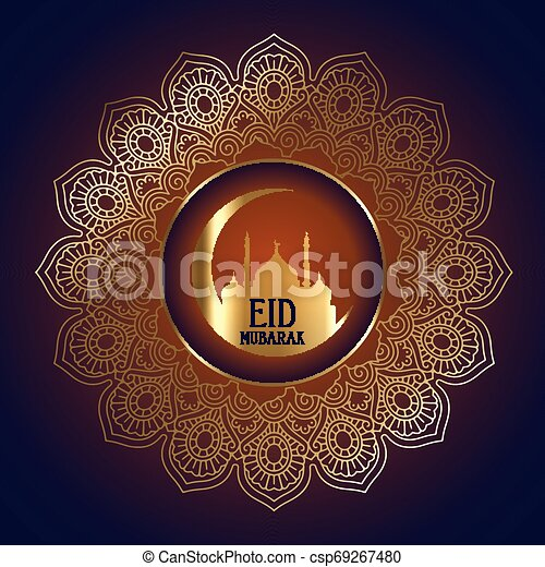 Eid Mubarak background with mosque silhouette in decorative frame - csp69267480