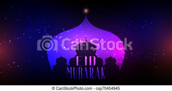 Eid Mubarak background with mosque silhouette on bokeh lights design - csp70454945