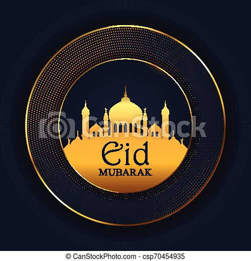 Eid Mubarak background with mosque silhouette - csp70454935