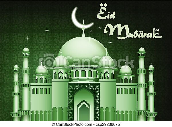 Eid Mubarak background with mosque - csp29238675