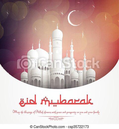 Eid Mubarak background with mosque - csp35722173