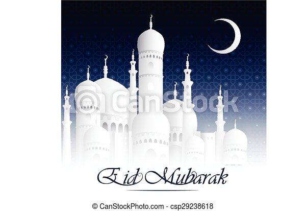 Eid Mubarak background with mosque - csp29238618