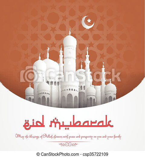 Eid Mubarak background with mosque - csp35722109